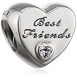 - 51AP3hXKn0L - Pandora Women's 9 k Silver Zircon Best Friends Charm