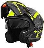Klapphelm Integralhelm Helm Motorradhelm RALLOX 109 schwarz gelb neon grün matt mit Sonnenblende (S, M, L, XL) Größe M - 2