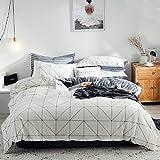 Luofanfei Schwarz Weiß Bettwäsche 135x200 Baumwolle Kariert 2 Teilig Bettbezug Streifen Geometrisch Zweiseitig Modern