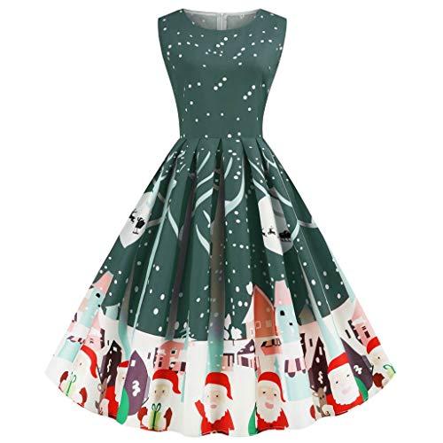 Canifon Damen Weihnachten Gedruckt Kleider Frauen Jahrgang O-Ausschnitt Ärmellos Reißverschluss Hohe Taille Party Kleid