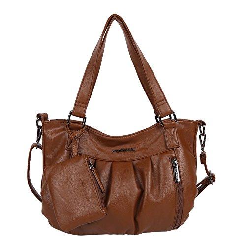 Angel Barcelo Brand Women Shoulder Bags Hobos Bags For Women PU Washed Handbags High Quality Messenger Bags Knitting Casual Tote Bag (Braun)
