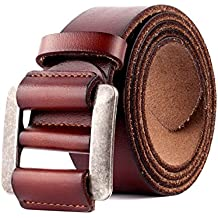 Cinturón de Cuero Genuino Para Hombres - Cinturones de Vestir Clásicos  Ajustables Para Hombres Sin Agujeros 81024cbc5479