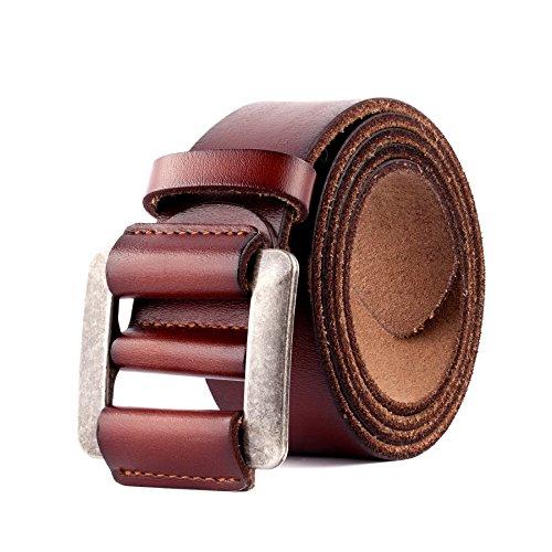 Cinturón de Cuero Genuino Para Hombres - Cinturones de Vestir Clásicos Ajustables Para Hombres Sin Agujeros Color Negro y Marrón (Marrón, 32'-38'(115CM))