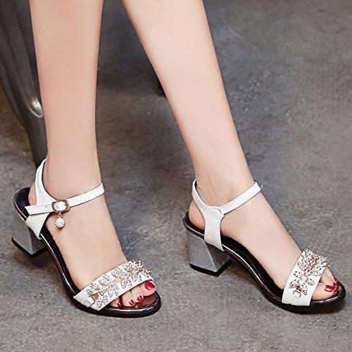 YE Damen Chunky Heels Sandalen Knöchelriemchen High Heels mit Schnalle und Strass Blockabsatz 6cm Bequem Schuhe Weiß
