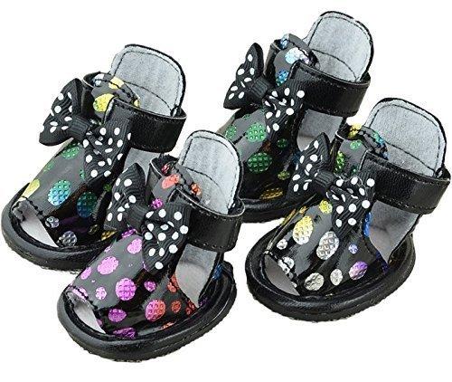 Mädchen Jungen Haustier Hund Katze schützende Schuhe Sandalen Sneakers Sportschuhe Kleidung Kleidung Party Kostüm Outfit Accessoire UK Schwarze Sandalen, Medium -