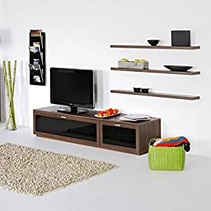 tv board lowboard lana schwarz walnuss holz nachbildung. Black Bedroom Furniture Sets. Home Design Ideas