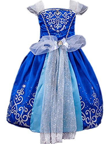 Ninimour Prinzessin Kleid Grimms Märchen Kostüm Cosplay Mädchen Halloween Kostüm Cinderella, Gr.110 (Halloween Cinderella)