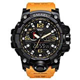 PAPAKOO Herren Analog-Digital Quarz Armbanduhr Wasserdichte mit Silikon Armband Orange WCH1545OG