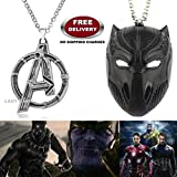 (2 Pcs AVENGERS SET) - AVENGERS SILVER LARGE LOGO & BLACK PANTHER IMPORTED METAL PENDANTS. LADY HAWK DESIGNER SERIES 2018. ❤ ALSO CHECK FOR LATEST ARRIVALS - NOW ON SALE IN AMAZON - RINGS - KEYCHAINS - NECKLACE - BRACELET & T SHIRT - CAPTAI