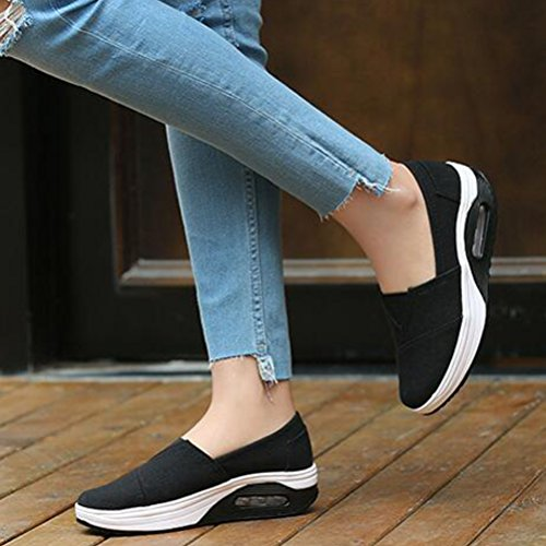 Mallimoda Donna Scarpe da Ginnastica Slip-On Tela in Alte Zeppa Outdoor Sneakers Nero
