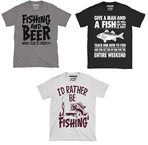 Triple Pack Of Mens Fishing / Angling Themed T-Shirts (Medium)