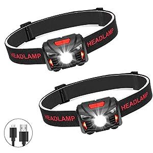 Winzwon USB Wiederaufladbare LED Stirnlampe Kopflampe, Wasserdicht Leichtgewichts Mini stirnlampen Perfekt fürs Laufen, Joggen, Angeln, Campen, für Kinder und mehr (2 Pack)