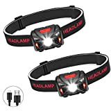 Winzwon USB Rechargeable Head Torch LED Headlamp Headlight Perfect for Running, Fishing, Hiking