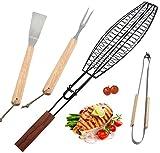 ROMANTICIST 4Pcs BBQ Grilling Tools Set - Accesorios para asar a la parrilla de acero inoxidable para trabajo pesado con cesta antiadherente de acero para barbacoa Fish-Gauge para barbacoas para acampar al aire libre