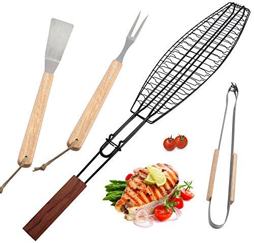 Romanticist 4Pcs BBQ Grill-Werkzeug-Set - Heavy Duty BBQ Grill Zubehör mit Fisch Grillkorb für Outdoor Camping Barbecue