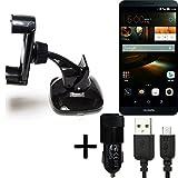 K-S-Trade Halterung für Huawei Ascend Mate 7 32GB Windschutzscheibe/Armaturenbrett + LADEGERÄT mit Mico USB Kabel Autohalterung KFZ Halter Scheiben-Halterung Armaturenbrett-Halter schwarz