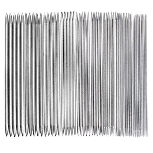 Romote 11 Sätze von Doppel-Spitze Edelstahl Stricknadeln 2,0-6,5 mm - 5 Stück/pro Set -