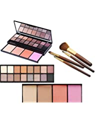 VONISA 20 Color Professional Makeup Palette with Eyeshadow, Bronzer, Blush, Brush and Mirror Waterproof Nature Glow Matte Eye Shadows Kit with 4pcs