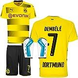 BVB Borussia Dortmund Set bestehend aus Heimtrikot Heimhose Saison 2017 2018 und Schienbeinschoner Farbe Dembele, Größe 152