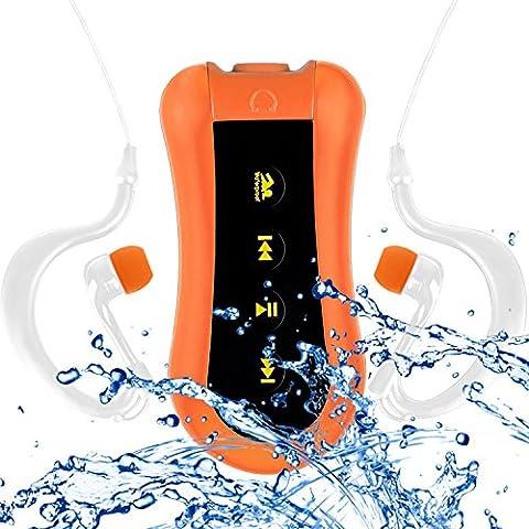 COOSA Waterproof Lecteur MP3 8GB Waterproof music player conception de clip pour Nager & autres Sports (IPX-68 Standard) Radio FM (Orange, 8GB)