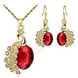 Gold Peacock Halskette Ohrringe mit Diamant-Schmuck 2 Stück Set YunYoud lang halsreif halsschmuck edelsteinkette kettenanhänger kleinem fusskette perlenkette damenketten