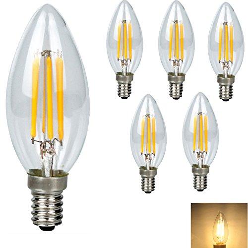 5X E14 LED Lampen Retro Edison Glühlampen , 4W Ersatz für 40W Glühlampen,Filament LED Birnen, Leuchtmittel Warmweiß 3000K, 360 Lumen Kerze mit 360° Abstrahlwinkel