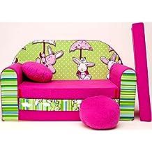 WELOX h18 KindersofaBettfunktion3in1-Kindersessel,Ausziehbett,rosa/grünHase, Eierschalenfarbe