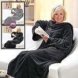 Kuscheldecke mit Ärmeln XXL 150 x 240 cm 2er-Set TV-Decke Cashmere Touch - flauschig weiche und warme Wohndecke - Microfaser Ärmeldecke ideal für die kalte Jahreszeit, Farbe:Anthrazit / Silbergrau