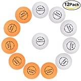 DealTek 12 Stck Tischtennisbälle, 3-Sterne-Wettkampfbälle 40+ mm Ping Pong Bälle Professionelle Trainingsball 6 Weiß + 6 Orange