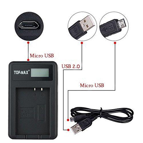 2 Baterías LP-E10 + Cargador compatible con Canon EOS 1100D, 1200D, 1300D, Rebel T3, Rebel T5, marca TOP-MAX®