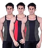 Zimfit Gym Vest - Pack of 3 (Green_Red_G...