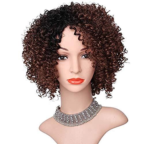 12 Zoll Perücke Afro Crazy Curly für Schwarze Frauen Perücken gewellte Perücken Kunsthaar mit Pony Short (Crazy Santa Kostüm)