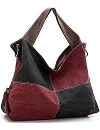 Damen Canvas Shopper Bag Handtasche Tragetasche Shultertasche College Bag Tote Zweifarbig