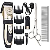 Professional Pet Grooming Clippers. EVELTEK Rechargeable Cordless Low Noise Pet Dogs and Cats