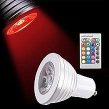 Sunix® Bombillas LED RGB 5W GU10, 16 Opciones de Color, Cambio Color, Control Remoto 24 Botones Incluido, Iluminación por Atmósfera para Decoración Fiesta Hogar, Hoteles, clubs, centros comerciales etc