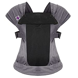 Izmi Breeze Carrier, Ideal for Newborns with Extra Breathable Mesh Panel for Increased Ventilation, for Babies Weighing 3.2kg-15kg, Mid Grey  Suitable from birth Baby can face in/out/or be on your back Cushioned head rest and leg openings - with padded Supports 6