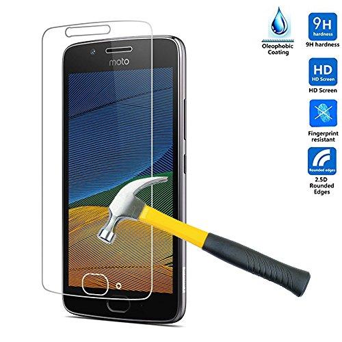 MOTO G5 PLUS Schutzfolie, KuGi MOTO G5 PLUS panzerglas folie - 9H Härte HD klar gehärtetem Glas Displayschutzfolie für MOTO G5 PLUS smartphone. (Moto-screen-ersatz)