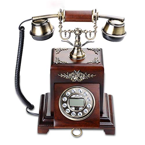 RMXMY Europäische Telefon High-End-Antike Retro Mode Antike Rose Massivholz Festnetz-Telefon (Farbe : C)