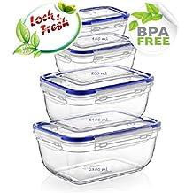 Set di 4scatole pasto di conservazione alimentare alta qualità 100% ermetico compatibile Micro onde congelatore Lava lavastoviglie garanzia anti-goccia e senza bisfenolo A