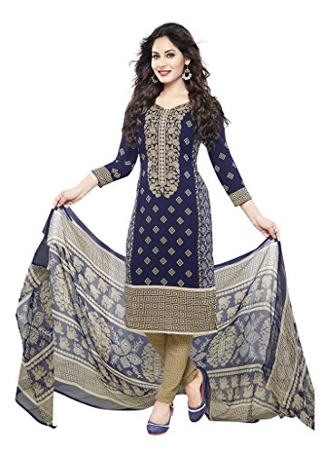 Ishin French Crepe Blue & Beige Printed Unstitched Dress Material