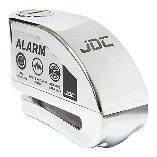 JDC Motorrad Bremsscheibenschloss ALARM - JAWS - Chrom (Tür-alarm-nacht)