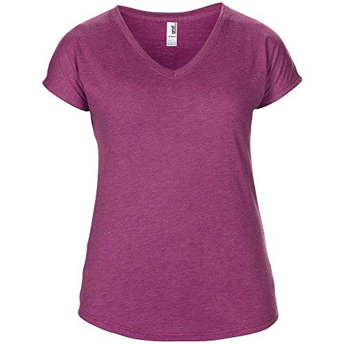 Anvil Ladies Tri-Blend V-Neck T Shirt Heather Raspberry