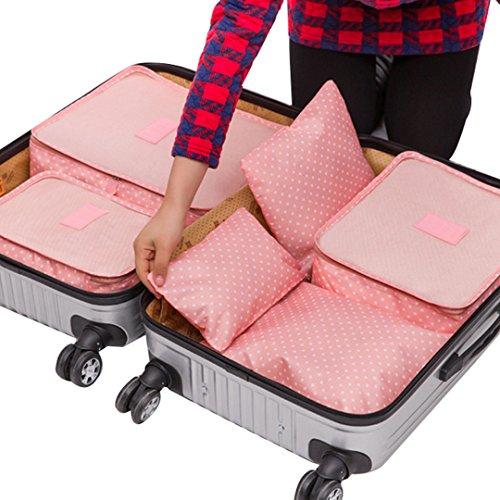 La haute 6cubetti di viaggio organizzatori imballaggio bagagli Organizzatori Compressione Pouch Pink Dot
