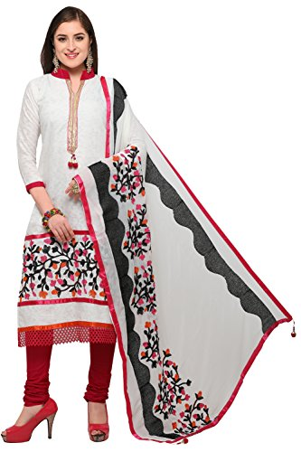 EthnicJunction Botanical Phulkari Embroidery Unstitched Salwar Kameez Dress Material (EJ1180-88016, Offwhite)