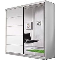 E-MEUBLES Armoire de Chambre avec 2 Portes coulissantes | Penderie (Tringle) avec étagères (LxHxP): 183x218x61 TESS…