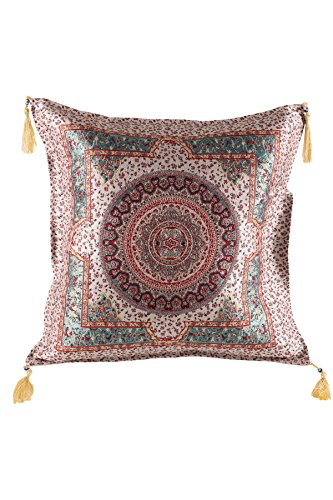 Armadahome Kissenbezug Kissenhülle Sitzkissen Cushion Cover orientalisch (Türkis-Beige)
