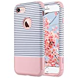 Cover iPhone 7, ULAK iPhone 7 Custodia Cover ibrida a 3 strati in silicone a shell super protettiva prova di collisione case cover per Apple iPhone 7 (4,7 pollici) -Oro Rosa Stripes