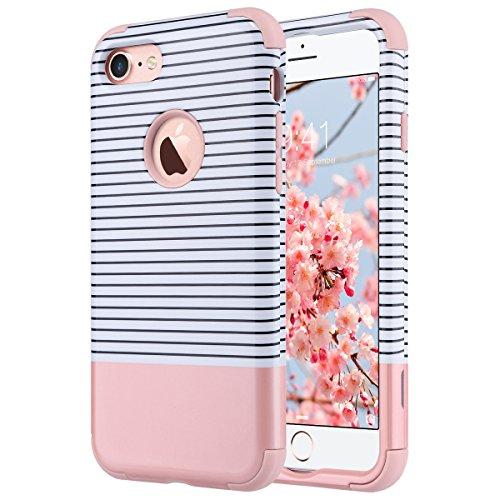 ULAK iPhone 7 hülle, iPhone 7 hülle Abdeckung 3in1 Hybrid High Impact Weiche Silikon Shockproof Hard PC Fall Deckung für iPhone 7 4,7 Zoll (Roségold Streifen)