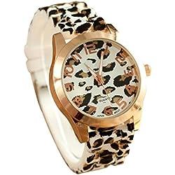 Amsion Gel Moda unisex Los hombres y las mujeres del leopardo jalea del silicón del análogo de cuarzo reloj de pulsera (blanco)