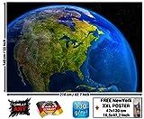 Tapiz fotográfica América de día Mural Decoración Space Espacio Cosmo Globo World Map Day USA Decoración de pared Mundo Globus I foto-mural foto póste